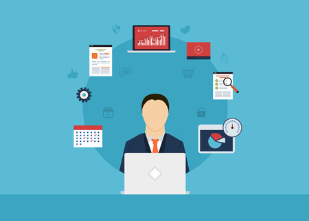 information management: Concept of consulting services, project management, time management, marketing research, strategic planning. All elements are around icon of businessman Illustration