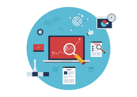 audit: Set of flat design vector illustration concepts for marketing research, data analysis, goal marketing, social media. Illustration
