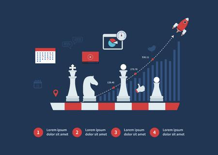 Conjunto de diseño plano ilustración vectorial conceptos de planificación de la estrategia, la planificación orientada a metas, negocio exitoso y mercados emergentes
