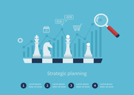 Set flache Design Vektor-Illustration Konzepte für Datenanalyse, Strategieplanung und erfolgreiche Geschäfts