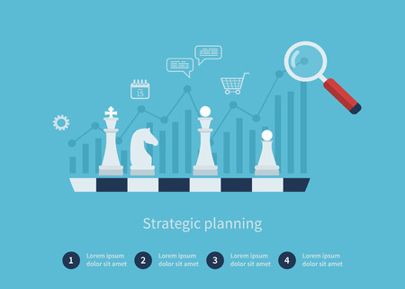 planning: Set of flat design vector illustration concepts for data analysis, strategy planning and successful business