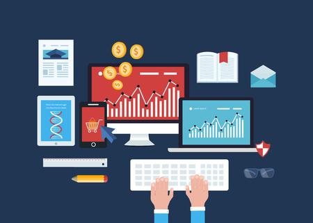communicatie: Volledige cirkel van begrip hoe organisaties maken gebruik van unified communications-oplossingen om de samenwerking, e-commerce, mobile marketing, online winkelen, data-analyse te verbeteren, de opleiding van werknemers Stock Illustratie