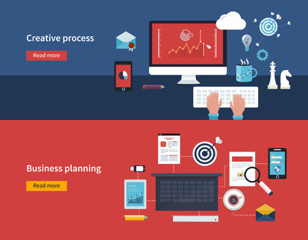 business planning: Set of flat design vector illustration concepts of creative process and business planning banners vector illustration