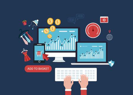 Flat design modern vector illustration icons set of website SEO optimization, mobile marketing and web analytics elements. Vettoriali