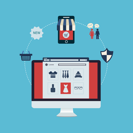 Flat design modern vector illustration icons set of online shopping, online store and mobile marketing. Full circle of online-shopping with mail menu of wide range products. Success for retail. Vettoriali