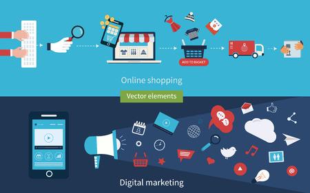 Set van platte ontwerp vector illustratie concept van online winkelen, mobile marketing en digitale marketing. Stock Illustratie