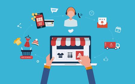 Mobile marketing en online winkelconcept vlakke pictogrammen. Volledige cirkel van online-winkelen met mail menu van uiteenlopende producten, product onderzoek, mand, pay per click, call center, levering.