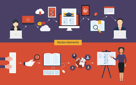Flat design modern vector illustration icons set of distance education and e-learning
