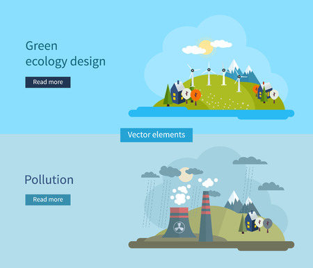 earth pollution: Flat design vector concept illustration with icons of green ecology and pollution. Vector illustration. Illustration