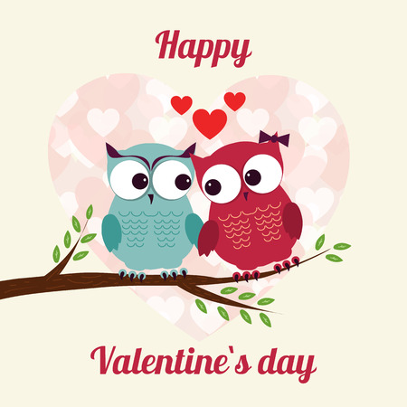 happy valentines day: Lovers and happy owls on tree with hearts. Vector illustration
