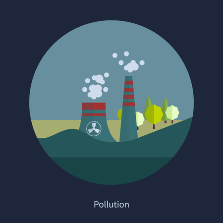 Flat design vector concept illustration with icons of ecology and pollution 向量圖像