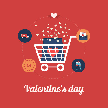 e shop: Flat design modern icons vector illustration set of online shopping and mobile marketing on Valentines Day. Vector illustration Illustration