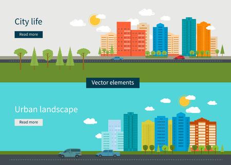 urban colors: Piso de diseño modernos ilustración vectorial conjunto de iconos del paisaje urbano y la vida de la ciudad. Icono Building Vectores