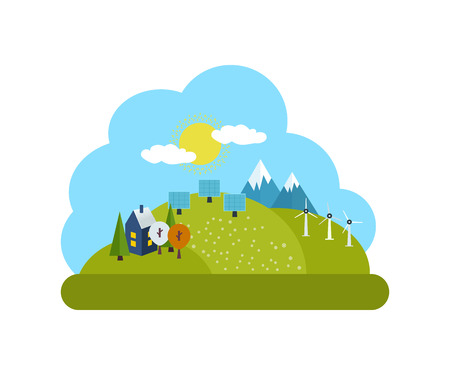 clouds scape: Flat design vector concept illustration with icons of ecology, environment and green energy