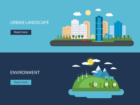 cities: Flat design vector concept illustration with icons of environment, green energy and  urban landscape