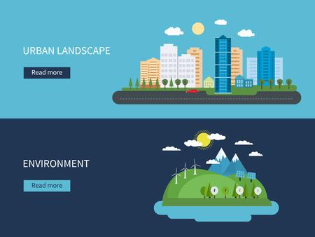 in city: Piso de diseño vectorial Ilustración del concepto con los iconos de medio ambiente, energía verde y el paisaje urbano