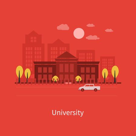 university building: Flat design modern vector illustration icons set of urban landscape and education. School and university building icon