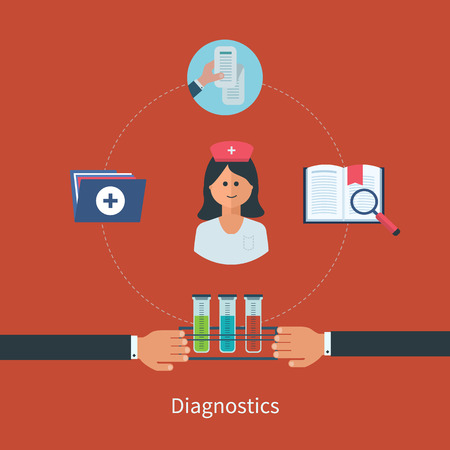 Flat design modern vector illustration concept for healthcare and online diagnosis. Healthcare system concept. Vector