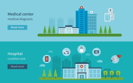 emergencia medica: Dise�o plano moderno concepto de ilustraci�n vectorial para la salud, centro m�dico y el edificio del hospital