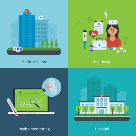 construccion: Diseño plano ilustración vectorial moderno concepto de atención médica, cuidado de la salud, vigilancia de la salud, centro médico y el edificio del hospital