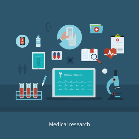patients: Flat health care and medical research background. Healthcare system concept. Illustration