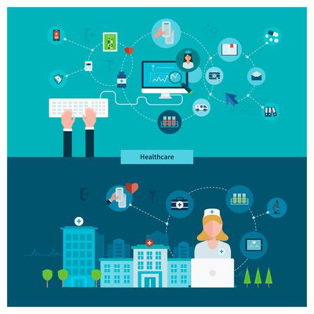 ambulancia: Conjunto de dise�o de planos ilustraci�n vectorial conceptos para el cuidado de la salud, primeros auxilios, servicios m�dicos en l�nea y apoyo. Concepto para banners y materiales impresos