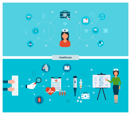 Set of flat design vector illustration concepts for health care, education, online medical services and support. Concept for banners and printed materials Illustration