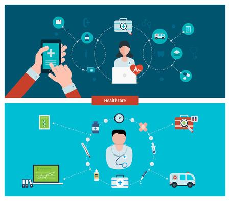 건강 관리, 응급 처치, 온라인 의료 서비스 및 지원을위한 평면 디자인 벡터 일러스트 레이 션의 개념을 설정합니다. 배너 및 인쇄물에 대한 개념 일러스트