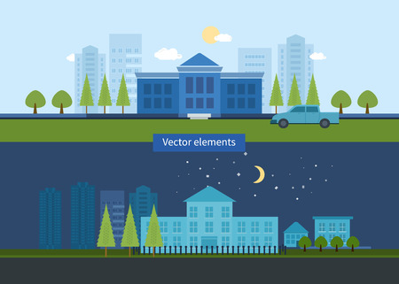 Flat design modern vector illustration icons set of urban landscape and education. School and university building icon Vector
