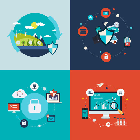 data protection: Flat design vector concept illustration with icons of ecology, environment, social network security, data protection and analytical research