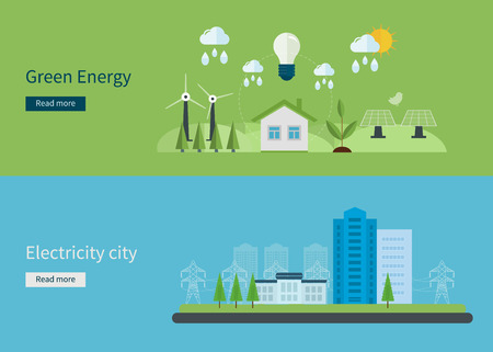 green life: Flat design vector concept illustration with icons of green energy, eco friendly and electricity city. Vector illustration
