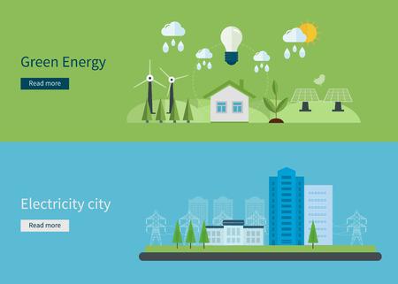 Piatto disegno vettoriale concetto illustrazione con le icone di energia verde, eco città accogliente e di energia elettrica. Illustrazione vettoriale Archivio Fotografico - 36971092