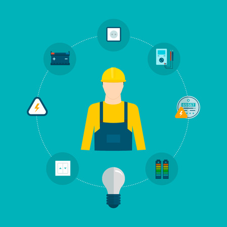 energy electrician: Flat design vector concept illustration with icons of household power professional electrician and electricity. Vector illustration