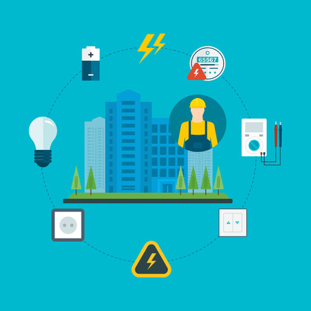 electrical engineer: Piso de diseño vectorial Ilustración del concepto con los iconos de electricista y electricidad profesional y de la ciudad. Ilustración del vector.