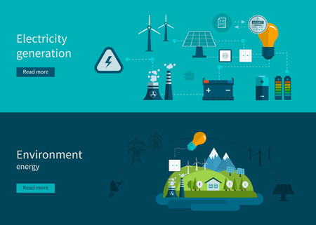 Flat design vector concept illustration with icons of ecology, environment and electricity generation. Vector illustration