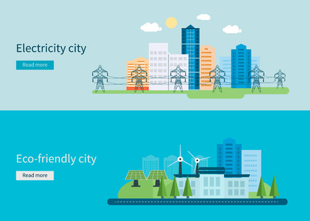 Flat design vector concept illustration with icons of green energy, Eco friendly city and electricity city. Vector illustration