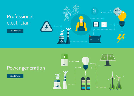 generation: Flat design vector concept illustration with icons of professional electrician and power generation. Vector illustration. Illustration