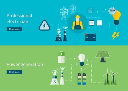 turbina: Piso de dise�o vectorial Ilustraci�n del concepto con los iconos de electricista profesional y generaci�n de energ�a. Ilustraci�n del vector. Vectores