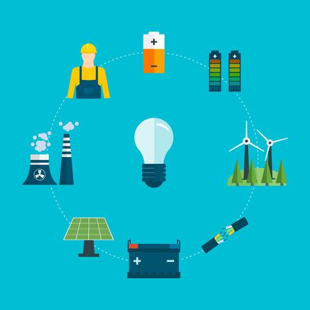 ingeniero electrico: Piso de diseño vectorial Ilustración del concepto con los iconos de electricista profesional y generación de energía. Ilustración del vector. Vectores