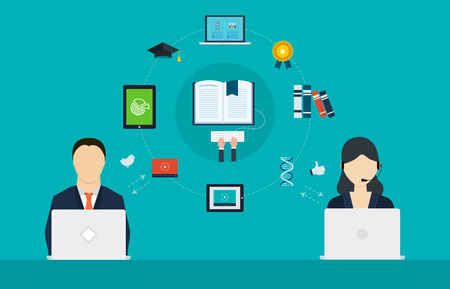 Concept of consulting services, project management, strategic planning, online education, distance education and e-learning