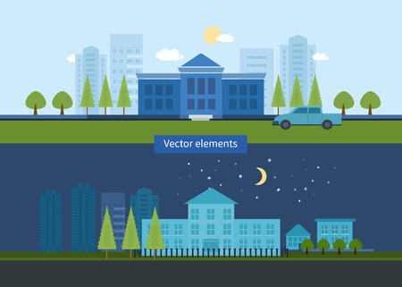 university building: Flat design modern vector illustration icons set of urban landscape and education. School and university building icon