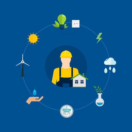 Flat design vector concept illustration with icons of ecology, environment and eco friendly energy. Concept of green building and clean energy Vector