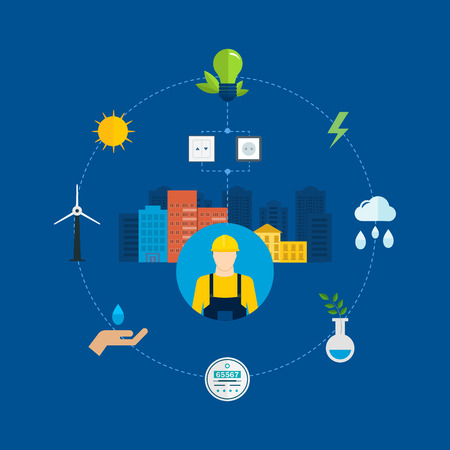 Flat design vector concept illustration with icons of ecology, environment, eco friendly energy and and green technology. Concept of green building and clean energy Vector