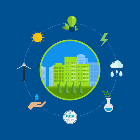 green building: Flat design vector concept illustration with icons of ecology, environment and eco friendly energy. Concept of green building and clean energy Illustration