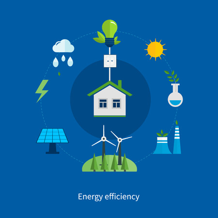 clean energy: Set of flat design vector illustration concepts for ecology, environment, green energy  and green technology.  Concept of green building and clean energy