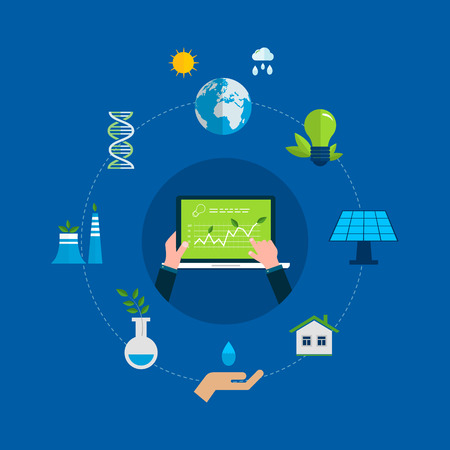 light source: Flat design vector concept illustration with icons of ecology, environment and eco friendly energy. Concept of running a clean house and green energy