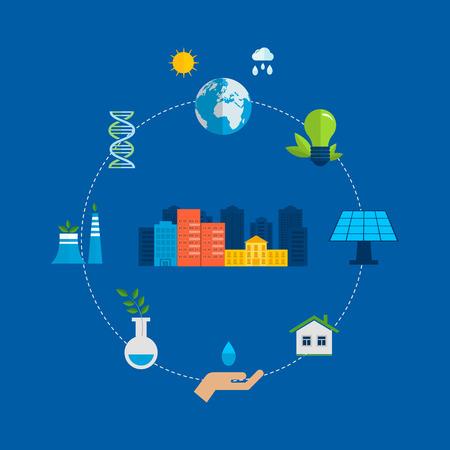 bioedilizia: Piatto disegno vettoriale concetto illustrazione con le icone di ecologia, ambiente e energia eco friendly. Concetto di bioedilizia ed energia pulita Vettoriali