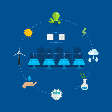 urban environment: Urban landscape. Flat design vector concept illustration with icons of ecology, environment, eco friendly energy and and green technology. Concept of green building and clean energy