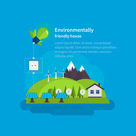 environmentally friendly: Village landscape. Environmentally friendly house. Flat design vector concept illustration with icons of ecology, environment, eco friendly energy and green technology.
