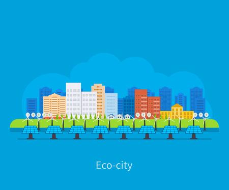 Città del paesaggio. Casa ecocompatibile. Piatto disegno vettoriale concetto illustrazione con icone di ecologia, città elettricità, ambiente, eco energia amichevole e tecnologia verde. Archivio Fotografico - 37771526